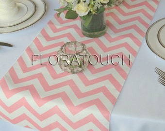 Light pink Chevron Table Runner Zigzag Wedding Table Runner