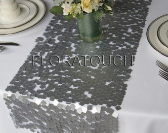 Dazzle Square Silver Sequin Table Runner Wedding Table Runner