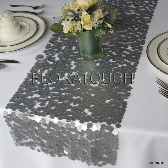 - Dazzle Square Silver Sequin Table Runner Wedding Table Runner