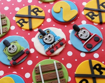 1 Dozen Thomas the train inspired Fondant Cupcake/Cookie Toppers