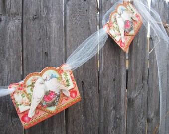 Vintage Style Valentine's Day Love Dove Banner