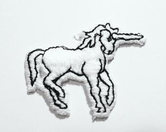 Unicorn Patch White Embroidered Applique Patch for Clothing 1980s cute animal kitsch retro