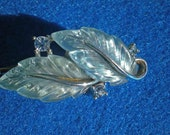 Lisner Blue Leaf Earring Repurposed Hair Pin