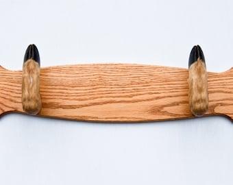 Taxidermy Deer Hoof Foot Feet Gun Rack on Beautifully Finished Oak Plaque