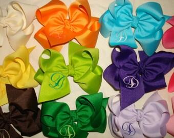 4 Large Monogrammed Boutique Hair Bows You Pick Colors