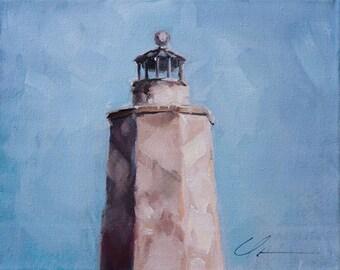 Baldhead Island Lighthouse, Old Baldy, North Carolina, Coastal, Light House, Beach, Ocean, Original Painting by Clair Hartmann