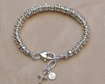 Rosary Charm Bracelet - Sterling Silver and Crystal Rondells