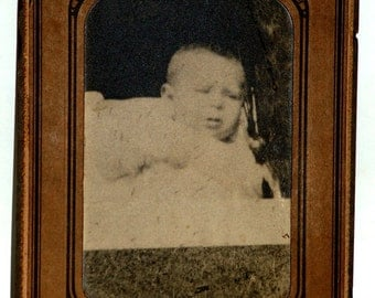 Antique Photo Baby Infant in Baby Carriage Cabinet Card Early 1900's Bruber and Son Photographer