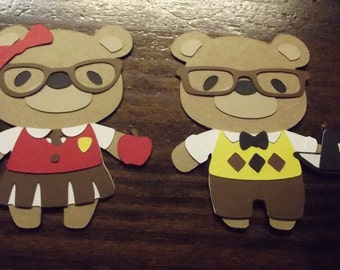 Teddy Bear die cuts- school boy and girl