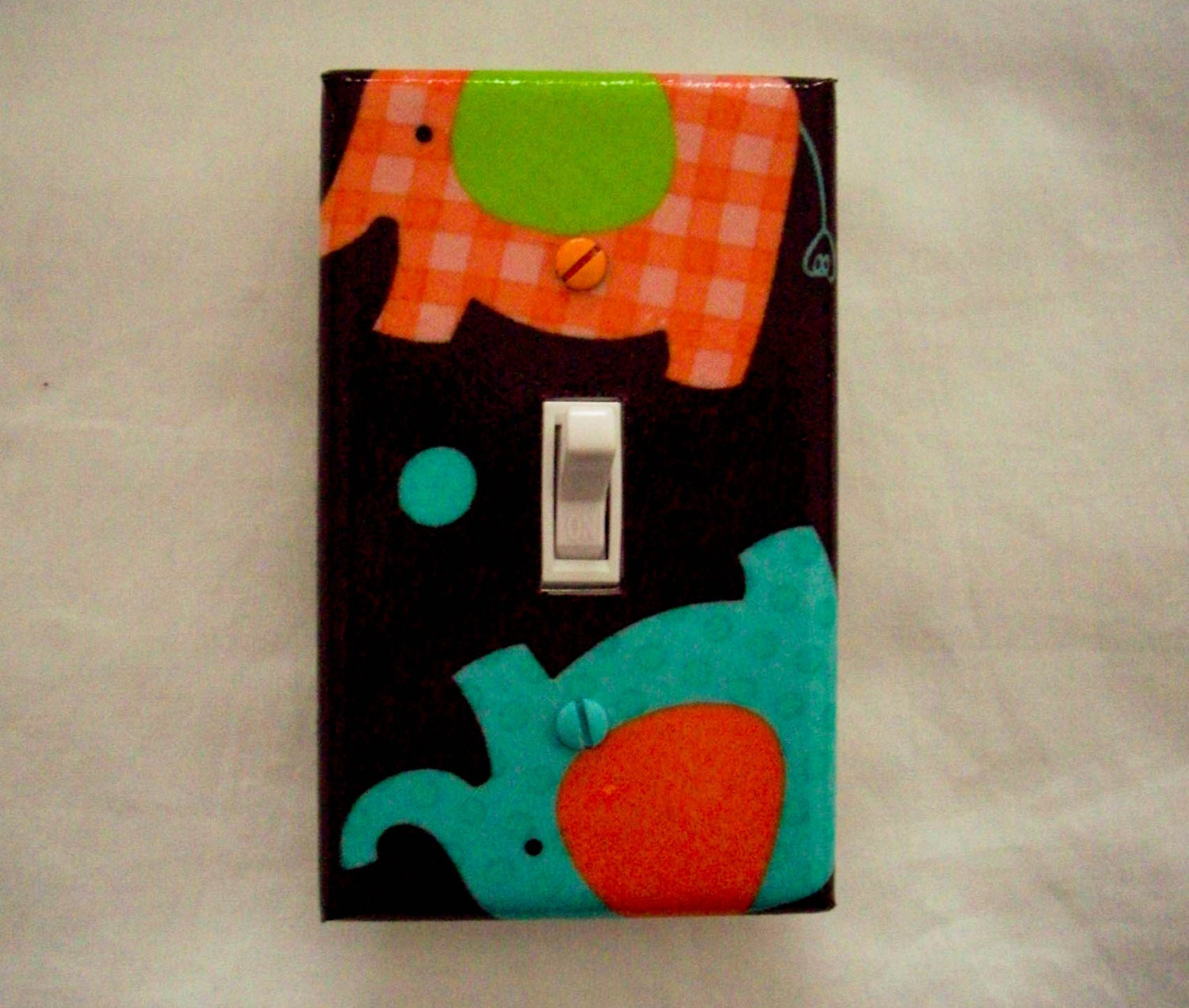 Elephant Light Switch Cover Aqua And Orange Elephants Brown