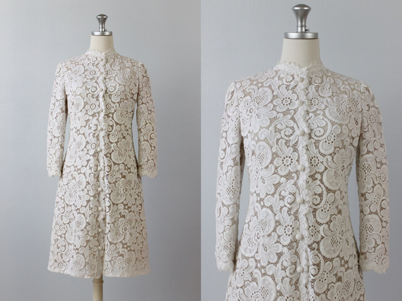Reserved Vintage 1960s Dress / 60s Dress / Lace Coat Dress