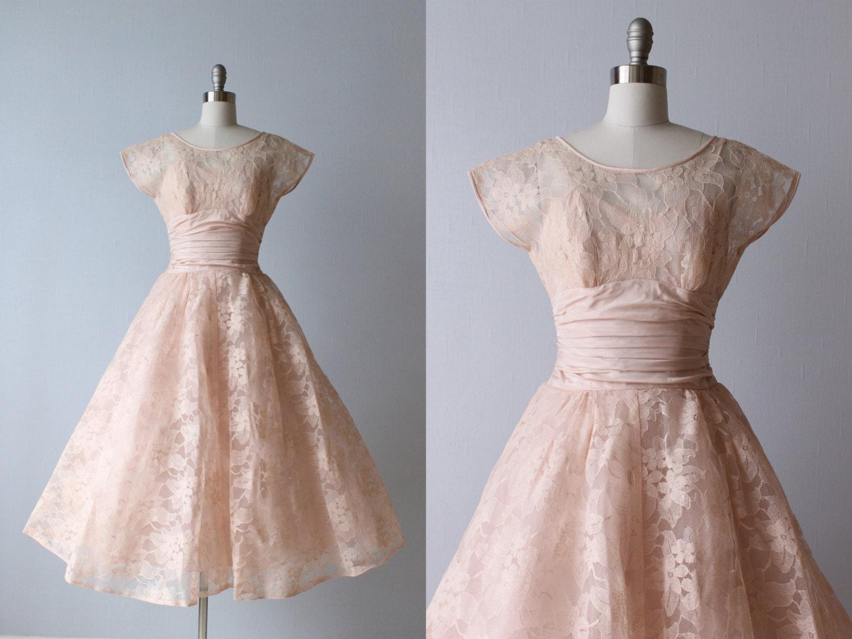 Vintage 1950s dress 50s tea length dress blush pink dress for Vintage t length wedding dresses