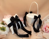 Custom Colors Streamers and Bows Flower Girl Basket and Ring Pillow Set...You Choose the Colors....shown in white/black/silver