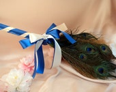 Peacock Theme Jumping Broom..You choose the Accent Ribbon Colors..Shown in Ivory/Royal Blue