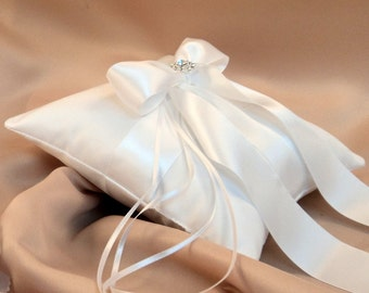 Romantic Satin Elite Ring Bearer Pillow...You Choose the Colors...Buy One Get One Half Off...shown in all white