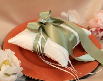 Romantic Satin Elite Ring Bearer Pillow...You Choose the Colors...Buy One Get One Half Off...shown in white/spring moss green