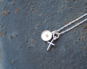 FAITH the Size of a Mustard Seed Sterling Silver Mini Cross and Small Mustard Seed Resin Pendant Thin Rope Chain Necklace
