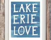 Lake Erie Love Print - Bottle Blue
