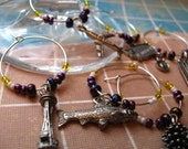 Pacific Northwest-Seattle UW HUSKY colors -TOP Seller -- Wine Charms
