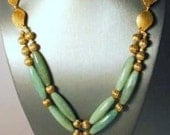 Antique style jade green and brass necklace