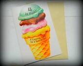 I Scream, You Scream, We all Scream for Ice Cream - Vintage Birthday Card -Girls 4th Birthday