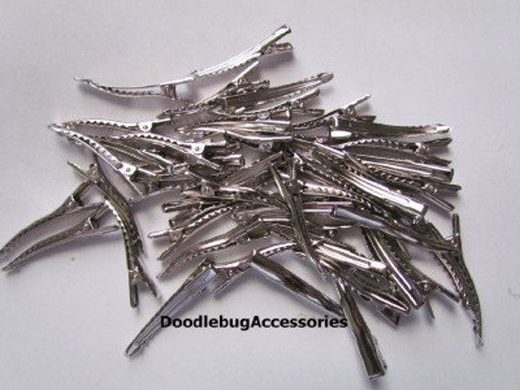 100 Single Prong Alligator Clips With TEETH 1 3/4 Inch (45mm) CPSIA Compliant