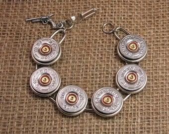 Shotgun Casing Jewelry - Silver 20 Gauge Shotgun Casing Bracelet - Classy, Great for Layering