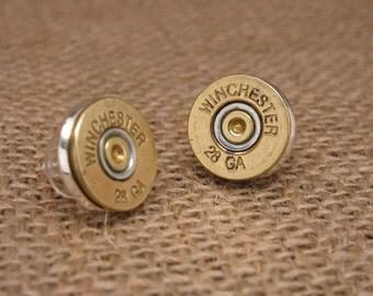 Shotgun Casing Jewelry - Winchester 28 Gauge ShotShell Post Stud Earrings