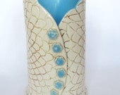 Large Turquoise, Cream, and Brown Crocheted Doily Pattern Vase