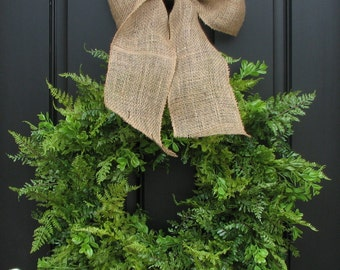 Spring Wreaths, Summer Wreaths, Boxwood, Fern and Burlap Bow for Year Round,Year Round Wreaths,Twoinspireyou, Wreaths, Mother's Day