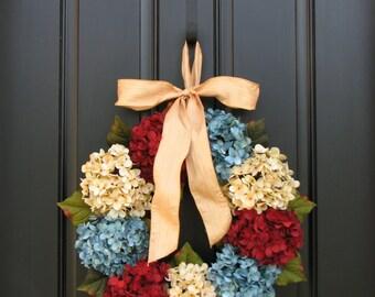 Patriotic Wreath, Memorial Wreath,Vintage Inspired Decor,Memorial Day Decor, Summer Wreaths, July 4th Decorations,Wreath,Primitive