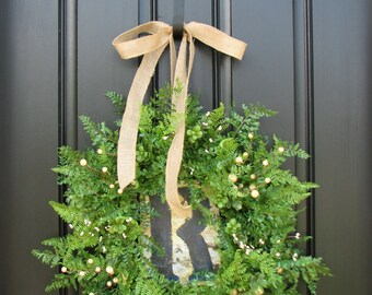 Spring Wreaths, Fern Hanging Baskets, Berry Wreaths,  Fern and Burlap for Year Round, Gifts, Monogrammed Gifts, Initial Decor