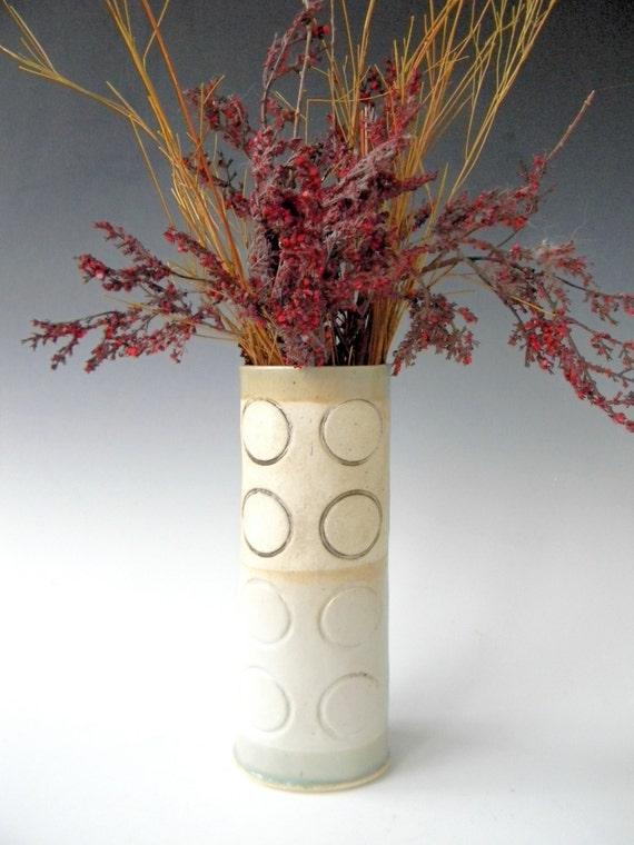 Hand Built Ceramic Vase - Modern Rustic Circle Pattern- FREE US SHIPPING