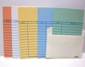 Library Date Due Cards 30-100 Book Pockets Cards Wedding Invitations Baby Showers Parties Scrapbooking Journals Assorted Colored Book Slips