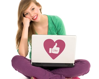 "Valentines ""Like"" decal- item 60003- Vinyl wall graphics, sticker, laptop skin"