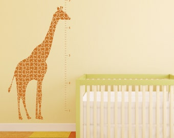 Giraffe Growth Chart Vinyl Wall Decal- Giraffe Puzzle, Sticker, Vinyl Graphic 30019