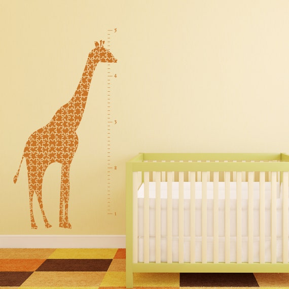 Giraffe Growth Chart Vinyl Wall Decal- Giraffe Puzzle, Sticker, Vinyl Graphic 30019