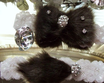 Diamond and Faux Fur Wedding Garter,Rhinestone Wedding Garter,Fur Wedding Garter,Bridal Garter,Faux Fur Garter