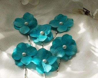 Wedding Sale,Teal Blue Wedding,Teal Blue Hair Flower,Wedding Hair Flower,Flower Girl