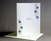 Blue-Eyed Grass Thank You Letterpress Card
