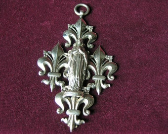 French antique cross Mary and fleur de lys