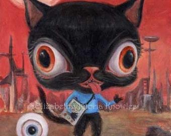 Star Trek Cat Art Print, Spock, Big Eye Black Cat Art, Pop Surrealism, Sci Fi, Space Art, Aliens,  EVK