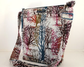 SALE! BUCKET BAG. Rainbow Trees Fabric. Blue, pink, green, white. Crossbody. Hobo. Summer Travel Bag. Washable Bag. Bags made in America.