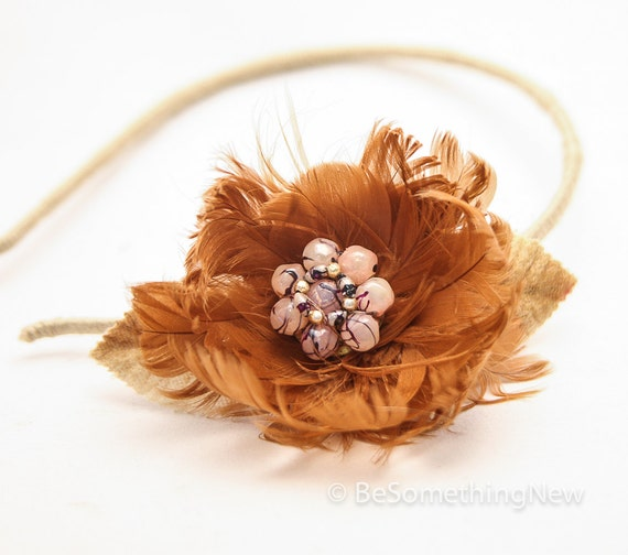 Vintage feather flower headband with vintage center, adult headbands, women hair accesory