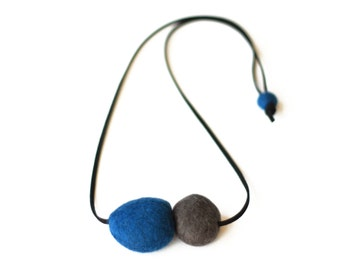 Felted Two Stone Necklace