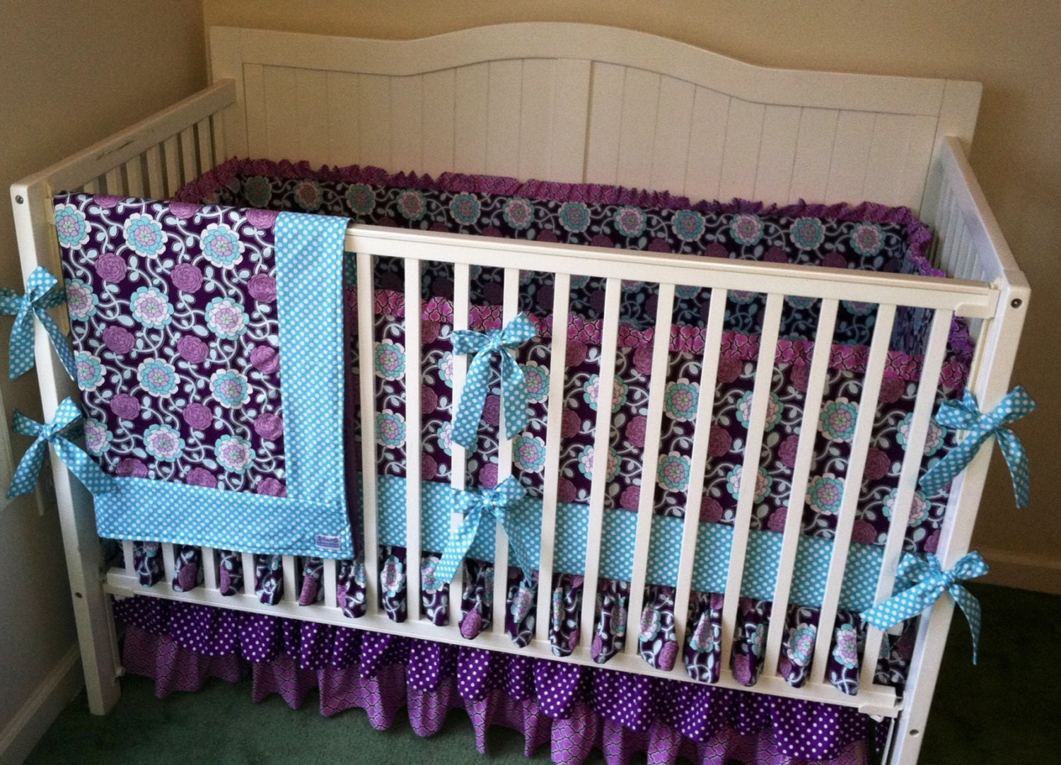 crib bedding set purple and aqua ruffled by butterbeansboutique. Black Bedroom Furniture Sets. Home Design Ideas