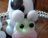 Handcrafted Artisan Lampwork Critter Glass Euro Charm Bead Cow