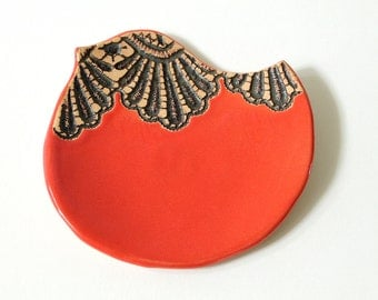 Handmade Moroccan Lace Bird Spoon Rest Dish or Soap Dish in Paprika