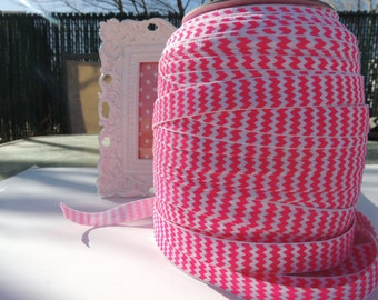 "5 Yards of 5/8"" Chevron Printed Fold Over Elastics FOE - Bright Pink and White"
