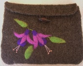 Brown Fushcia Felted Bag